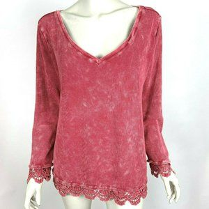 Soft Surroundings Sutton Top Red Lace Trim V-Neck